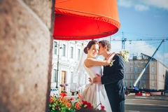 Bride and Groom at the Street Stock Image