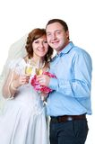 Bride and groom in studio Stock Images