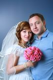 Bride and groom in studio Stock Photography