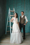 The bride and groom in the studio Stock Photography
