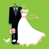 Bride and groom suit and gown on hangers. Formal Bride and groom suit and gown on hangers with flower and bird - diamond for cuff-link and on bowtie vector illustration