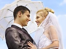 Bride and groom summer outdoor. Royalty Free Stock Photo