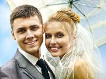 Bride and groom summer outdoor. Stock Images
