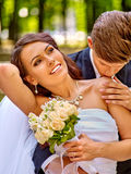 Bride and groom summer outdoor Stock Image