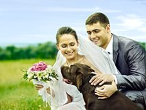 Bride and groom summer outdoor. Stock Photography