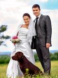 Bride and groom summer outdoor Stock Photo