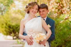 The bride and groom in summer park Royalty Free Stock Images