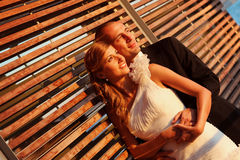 Bride and groom on a sunny day. Lovely stock photos