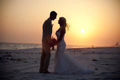 Bride and Groom at Sunset Stock Image