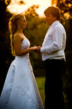 Bride and Groom at sunset. A view of a newly wed bride and groom standing together at sunset stock image
