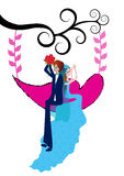 Bride and groom on a swing. Bride and groom on a heart swing royalty free illustration