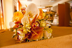 Bride and Groom Table with Bride's Bouquet Stock Photo