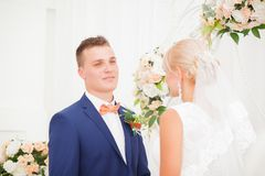 The bride and groom take an vow Royalty Free Stock Photo