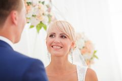 The bride and groom take an vow Royalty Free Stock Images