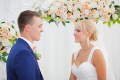 The bride and groom take an vow Royalty Free Stock Image