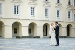 Bride and groom taking a walk Royalty Free Stock Photography