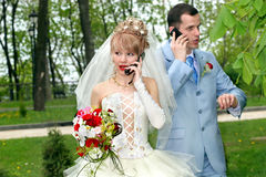 Bride and groom talk by phones Stock Images