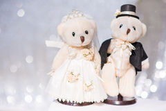 Bride and groom teddy bear in wedding Royalty Free Stock Photo