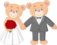 Bride and groom teddy bears getting married Stock Photos