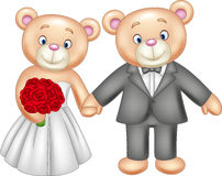 Bride and groom teddy bears getting married Stock Images