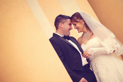 Bride and groom on their wedding day Stock Image