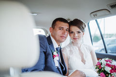 Bride and groom on their Stock Photography