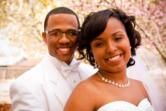 Bride and groom on their wedding day. Royalty Free Stock Image