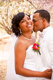 Bride and groom on their wedding day. Stock Photos
