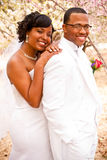 Bride and groom on their wedding day. Stock Image