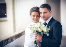Bride and groom on their wedding day Stock Photography