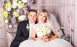 Bride and groom on their wedding day Royalty Free Stock Images