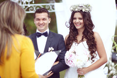 Bride and groom on their wedding day Royalty Free Stock Photo
