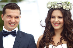 Bride and groom on their wedding day Stock Images