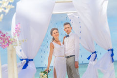 Bride and groom on their wedding day Royalty Free Stock Image