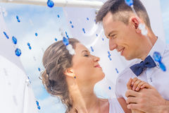 Bride and groom on their wedding day Royalty Free Stock Photos