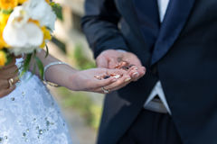 The bride and groom there with a handful of coins. Stock Image