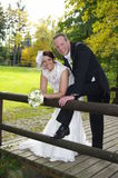 Bride and groom on a timber bridge in autumn Stock Images