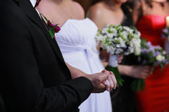 Bride and groom to hold hands Royalty Free Stock Photos