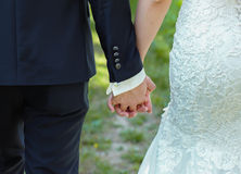 Bride and groom to hold hands. loving care Royalty Free Stock Photos