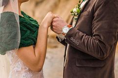 The bride and groom. To hold hands, wedding rings Royalty Free Stock Photo
