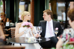 Bride and groom toasting Royalty Free Stock Photography
