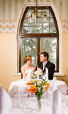 Bride and groom toasting Stock Photos