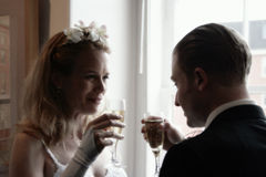 Bride and Groom Toasting Champaign Royalty Free Stock Photos