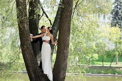 Bride and groom together in the park Stock Image