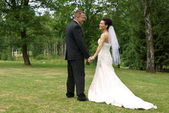 Bride and groom together Royalty Free Stock Photos