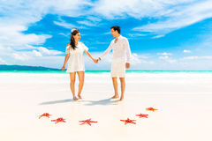 Bride and Groom on tropical beach shore with red starfish in the Stock Photos
