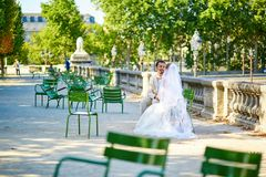 Bride and groom in the Tuileries garden of Paris Royalty Free Stock Photo