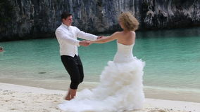 Bride and Groom Turn Round Together stock footage