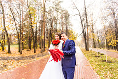 Bride and groom with umbrella. Stock Image