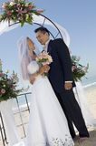 Bride and Groom under archway stock images